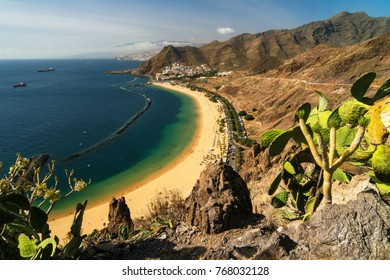View of Las Teresitas Beach on Tenerife, Spain.