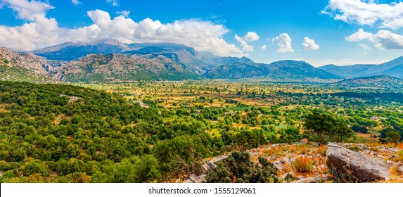 View of the Lassithi Plateau on the island of Crete, Greece