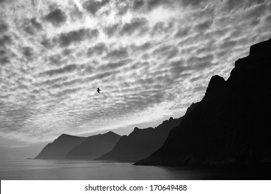 View to the last islands of Lofoten, Norway as seen from the small village of Ã?Â?