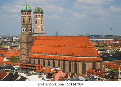 View of the late gothic Cathedral of Our Dear Lady (Frauenkirche) in Munich