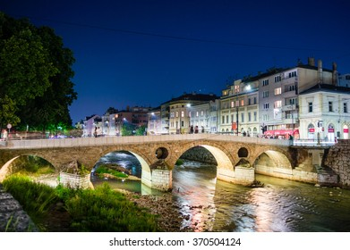 View of the latin bridge and historic centre of Sarajevo - Bosnia and Herzegovina in the night