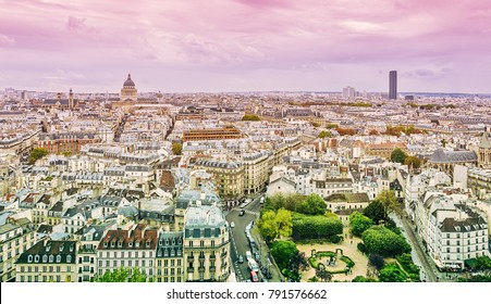 View of the Latin Quarter from the Cathedral of Notre-Dame de Paris. Paris. France.