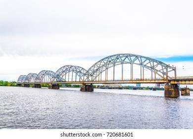 View of the Latvian national library situated next to a railway bridge in Riga, Latvia.