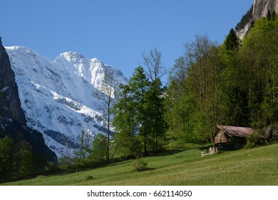 View up the Lauterbrunnen Valley in Switzerland, looking towards the snowy top of the Breithorn.
