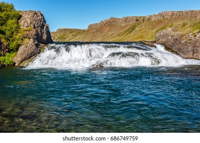 View of Laxfoss waterfall in Iceland