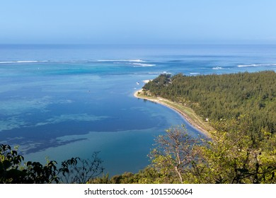 View from Le Morne Brabant onto the turquoise waters of the lagoon at the south coast of Mauritius, Africa.