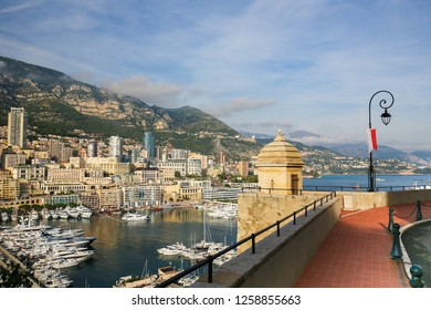 View from Le Rocher on Luxury Yachts in the Port of the Principality of Monaco, at the French Riveira.