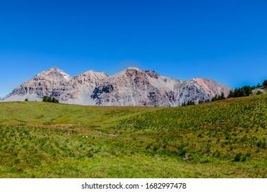 View of Le Rois Mages (Baltazar 3153m, Melchior 2948 m, Gaspard 2808 m , Quatre Soeurs 2587 m) located  on Etroite Valley- Hautes-Alpes.