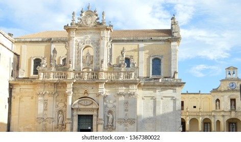 """View of Lecce Cathedral with Bishop""""s Palace.The main Cathedral of the city dedicated to the Assumption of the Virgin Mary.It is the seat of the Archbishop of the Lecce."""