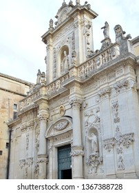 View of Lecce Cathedral (Duomo di Lecce).The Cathedral was dedicated to the Assumption of the Virgin Mary.It was first built in 1144 and rebuilt in 1659 by architect Giuseppe Zimbalo.