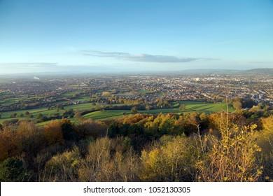 View from Leckhampton Hill over Cheltenham, Gloucestershire, UK
