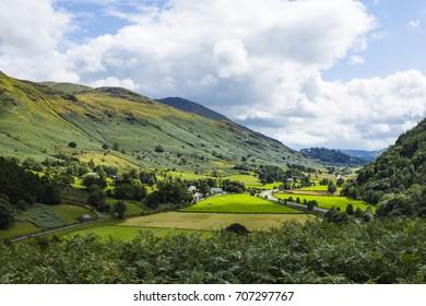 View of Legburthwaite from Wren Crag, Legburthwaite village, Allerdale District, Lake District National Park, Cumbria, England