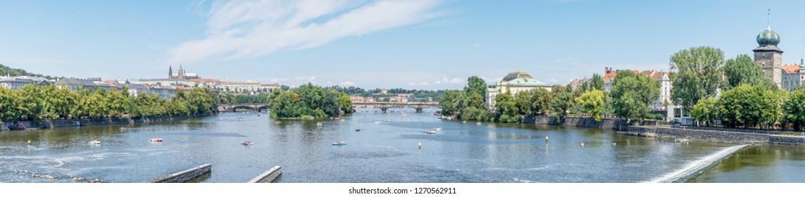 View of the Legion bridge in Prague in summer