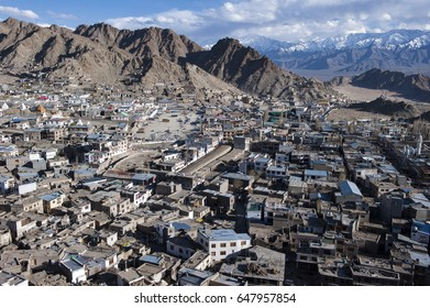 View of Leh city, the capital of Ladakh, Northern India.