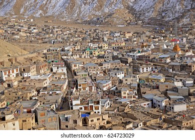 View of Leh Ladakh in the valley of snow mountain. Nature background. Beautiful landscape during winter season in India