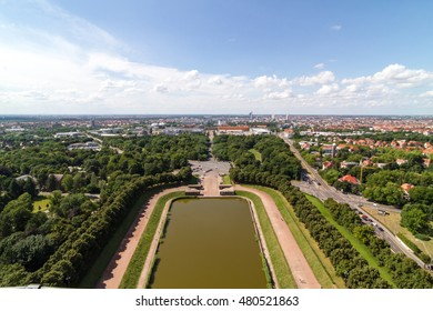 View of Leipzig city from the Monument to the Battle of the Nations in Leipzig, Saxony, Germany