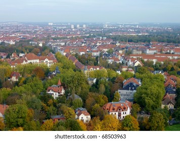View at Leipzig and its environment in Germany
