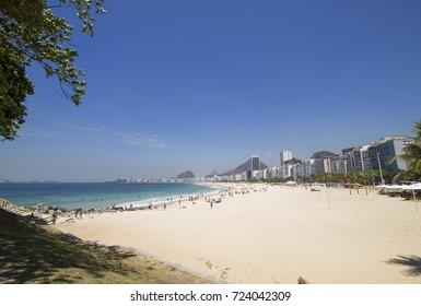 View of Leme beach and Copacabana in Rio de Janeiro Brazil