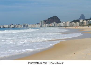 View of Leme and Copacabana Beach from Pedra do Leme, Rio de Janeireo, Brazil.