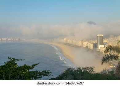 View of the Leme and Copacabana beaches in a foggy morning from the Forte do Leme hill, Rio de Janeiro.