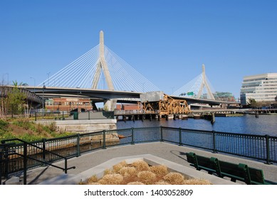 View of the Leonard P. Zakim Bunker Hill Memorial Bridge from North Point Park.