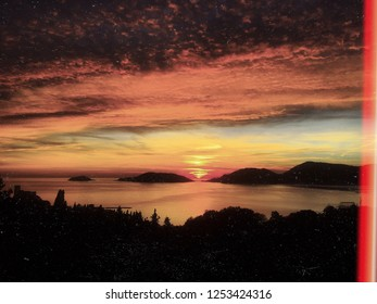 View of Lerici at sunset time . Lerici , Italy , Europe . Seascape of an amazing view.