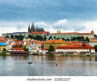 View of the Lesser Town (Little Quarter) and Castle District (Hradcany) in Prague, Czech Republic.