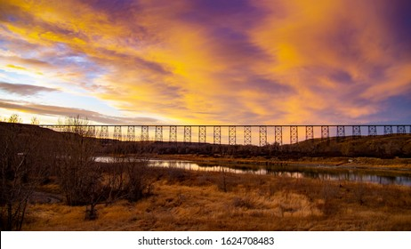 View of Lethbridge Bridge and Oldman River. The high level bridge in Lethbridge Alberta carries trains across the old man river valley.
