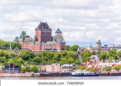View from Levis city on cityscape and skyline of Quebec City, Canada with Saint Lawrence river and tour boats, funicular