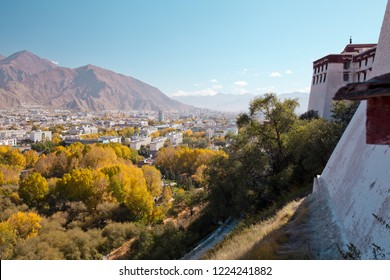 View of Lhasa city from the mountain, Tibet