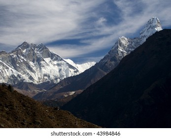View of Lhotse and Ama Dablam from Namche Bazar