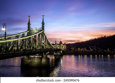 view of the Liberty bridge at Budapest, Hungary