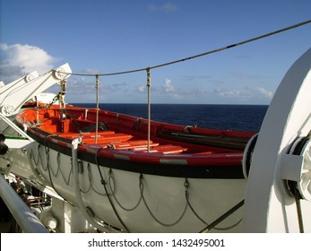 View of a lifeboat on the old QE2 taken during her last transatlantic crossing in October 2008.