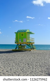A view of a lifeguard post on a sunny day in South Beach Miami.