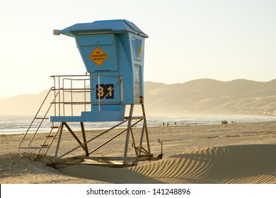 A view of a lifeguard stand in Pismo Beach, California.