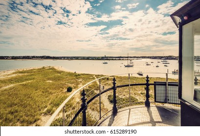 View from Lighthouse in Edgartown, Martha's Vineyard, New England, Massachusetts, USA, Vintage filtered style