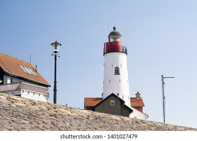 View of the lighthouse of the island of Urk along the IJsselmeer in the Netherlands