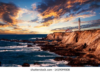 view of lighthouse on the coast in California at sunset