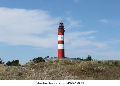 View of the lighthouse on the North Sea island of Amrum