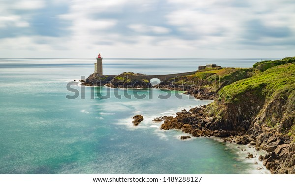 View of the lighthouse Phare du Petit Minou in Plouzane, Brittany France