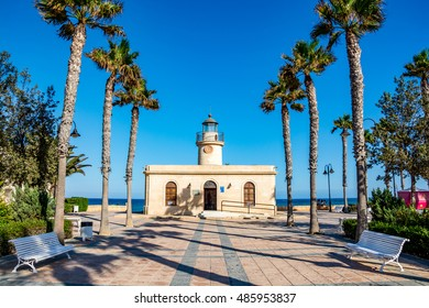 View of lighthouse in Roquetas de Mar, Almeria province, Andalusia, Spain