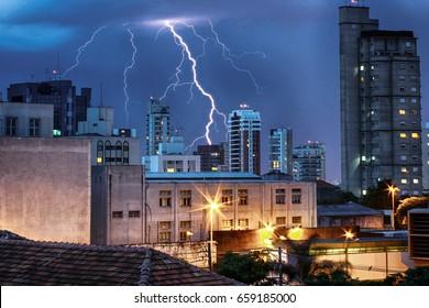 View of Lightning on the sky of São Paulo in Brazil