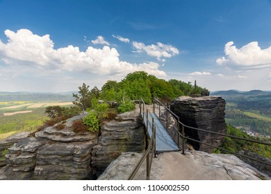 View from the Lilienstein rock formation in Saxon Switzerland, Germany