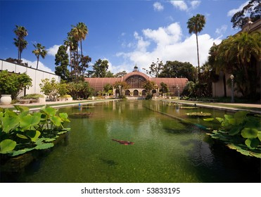 View of the lily pond in front of the Botanical Building in San Diego's Balboa Park with fish