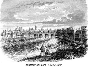 View of Lima, capital of Peru, vintage engraved illustration. Magasin Pittoresque 1846.
