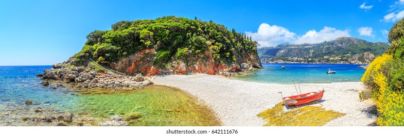 View of Limni beach in Corfu, Greece