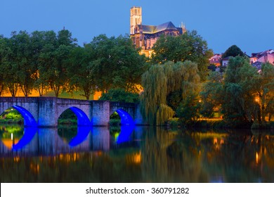 View of Limoges in a summer night