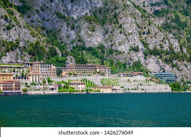 view of Limone sul Garda waterfront - a small town on the Garda lake, Italy