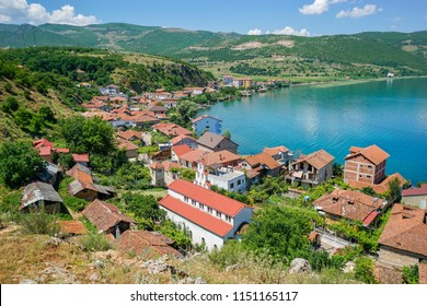 View of Lin village in Albania and Ohrid Lake from above. Scenic landscape