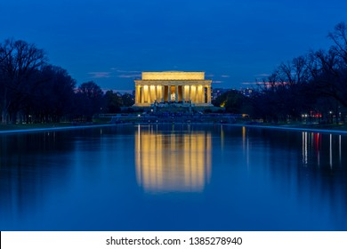 View of Lincoln Memorial illuminated at dusk, Washington, D.C., United States of America, North America 22-3-2019